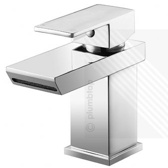Scudo Escobar Modern Waterfall Basin Mixer Tap Single Lever Chrome Slotted Click-Clack Waste